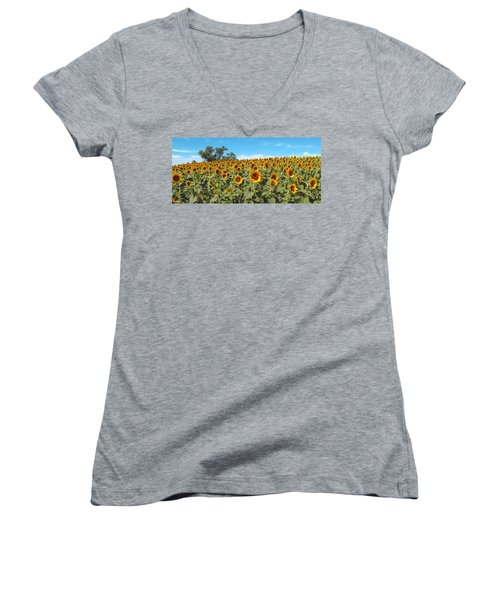 Sunflower Field One Women's V-Neck (Athletic Fit)
