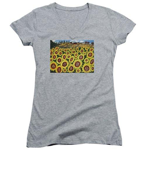 Sunflower Fields  Forever Women's V-Neck T-Shirt