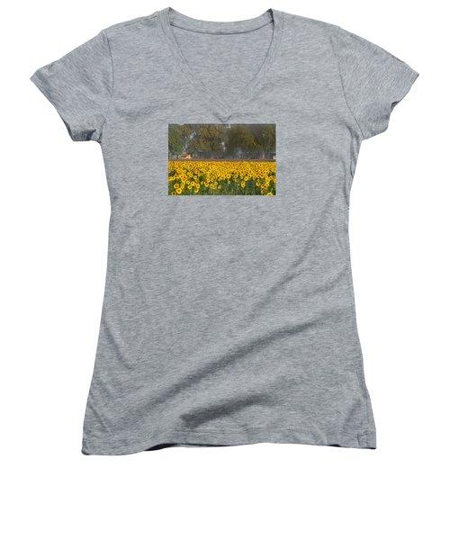 Sunflower Fields Women's V-Neck (Athletic Fit)