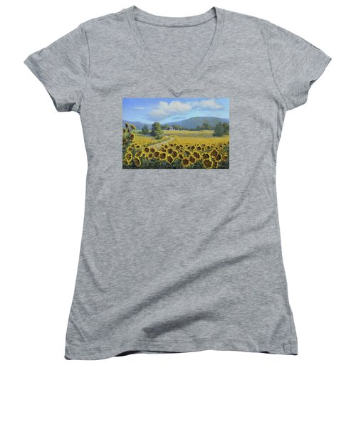 Sunflower Fields Women's V-Neck T-Shirt