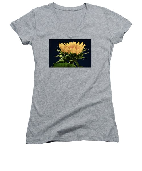 Women's V-Neck T-Shirt (Junior Cut) featuring the photograph Sunflower Foliage And Petals by Chris Berry