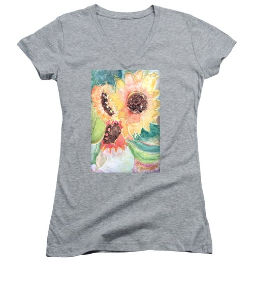 Sunflower Glory Women's V-Neck T-Shirt (Junior Cut) by Renate Nadi Wesley