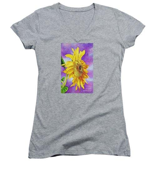 Sunflower Gold Women's V-Neck (Athletic Fit)