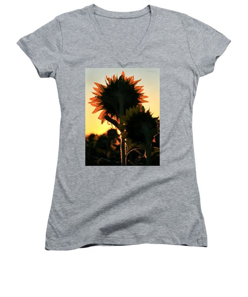 Women's V-Neck T-Shirt (Junior Cut) featuring the photograph Sunflower Greeting  by Chris Berry