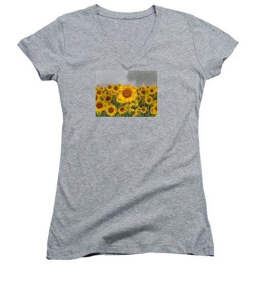 Sunflower In The Fog Women's V-Neck (Athletic Fit)
