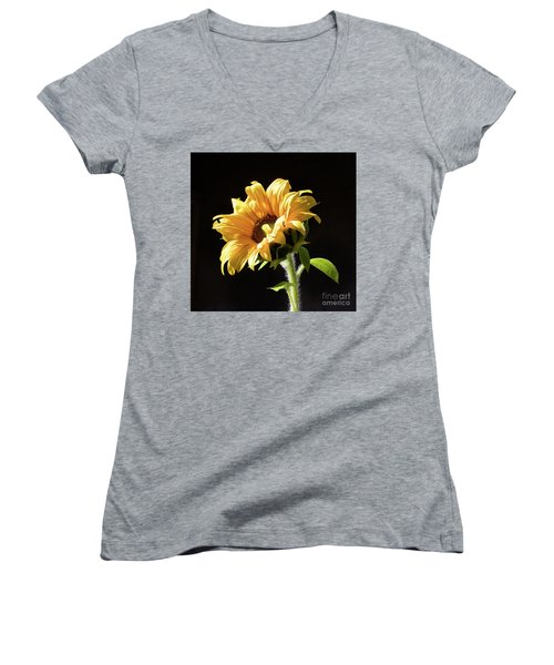 Sunflower Isloated On Black Women's V-Neck (Athletic Fit)