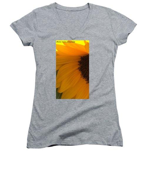 Sunflower Macro Women's V-Neck T-Shirt (Junior Cut) by Nance Larson