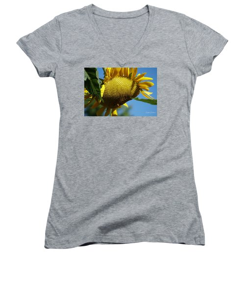 Sunflower, Mammoth With Bees Women's V-Neck (Athletic Fit)