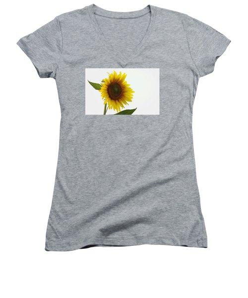 Sunflower Minimal Women's V-Neck T-Shirt (Junior Cut) by Joseph Skompski