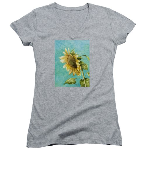Sunflower Number One Women's V-Neck (Athletic Fit)