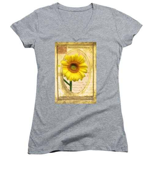Sunflower On Vintage Postcard Women's V-Neck T-Shirt (Junior Cut) by Nina Silver
