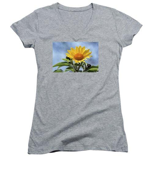 Women's V-Neck T-Shirt (Junior Cut) featuring the photograph Sunflower  by Saija Lehtonen
