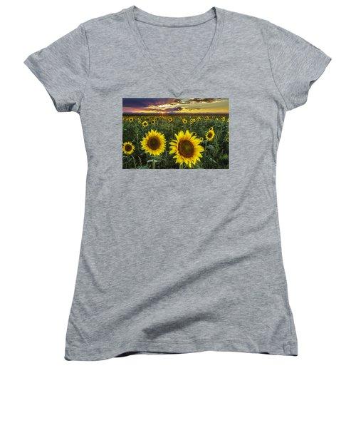 Sunflower Sunset Women's V-Neck T-Shirt (Junior Cut) by Kristal Kraft