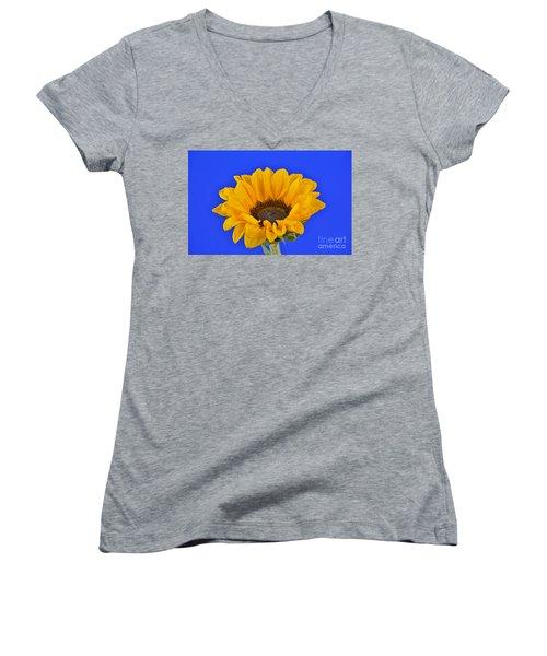 Sunflower Sunshine 406-6 Women's V-Neck T-Shirt (Junior Cut) by Ray Shrewsberry