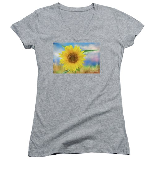 Women's V-Neck T-Shirt (Junior Cut) featuring the photograph Sunflower Surprise by Bonnie Barry