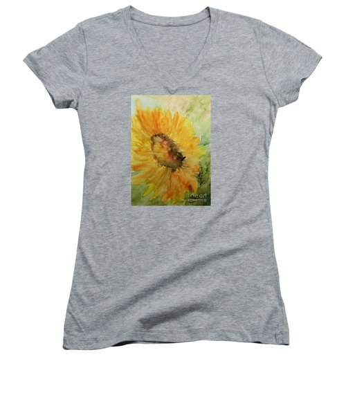 Sunflower Watercolor Women's V-Neck T-Shirt (Junior Cut) by AmaS Art