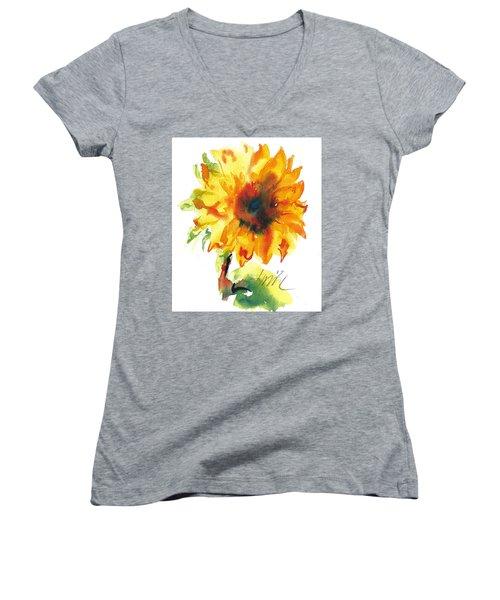 Sunflower With Blues Women's V-Neck