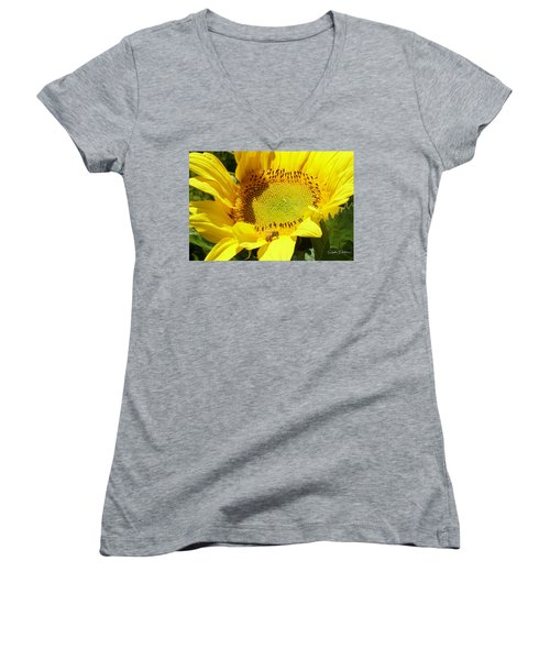 Sunflower With Honeybee Women's V-Neck (Athletic Fit)