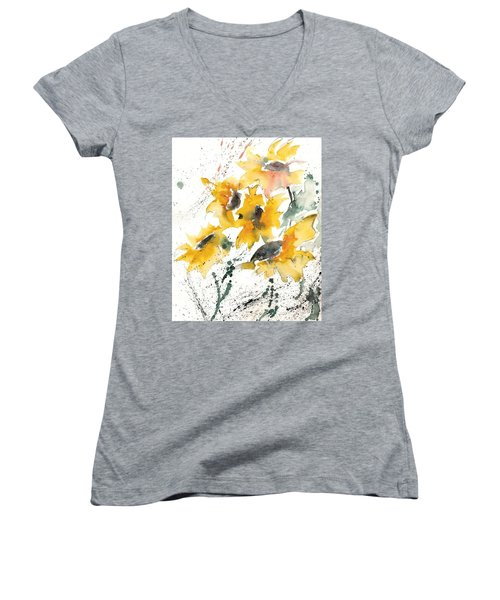 Women's V-Neck T-Shirt (Junior Cut) featuring the painting Sunflowers 10 by Ismeta Gruenwald