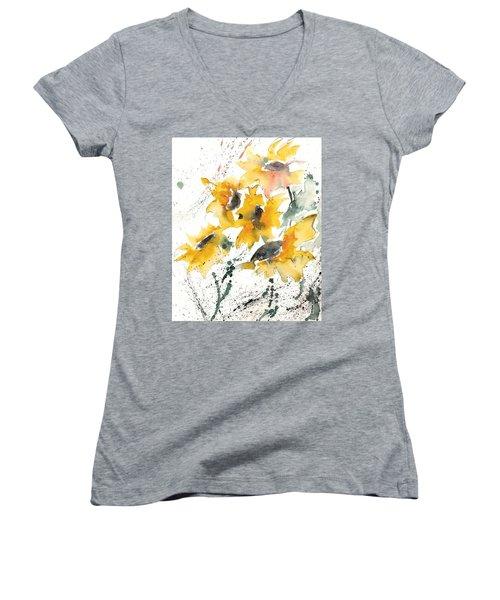 Sunflowers 10 Women's V-Neck T-Shirt