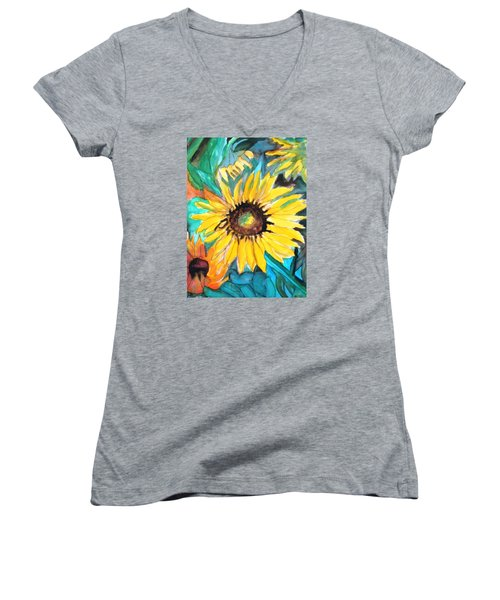 Sunflowers 7 Women's V-Neck (Athletic Fit)
