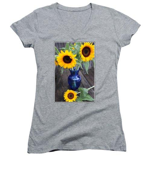 Sunflowers And Blue Vase - Still Life Women's V-Neck T-Shirt
