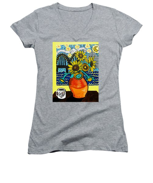 Sunflowers And Starry Memphis Nights Women's V-Neck