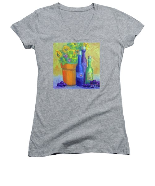 Sunflowers And Wine Women's V-Neck