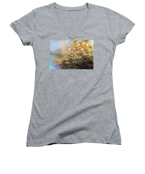 Women's V-Neck featuring the painting Sunflowers by Andrew King