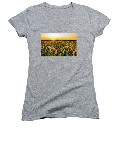 Sunflowers At Sunset Women's V-Neck