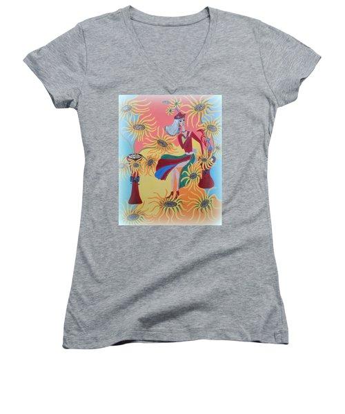 Sunflower's Contessa  Women's V-Neck T-Shirt (Junior Cut) by Marie Schwarzer