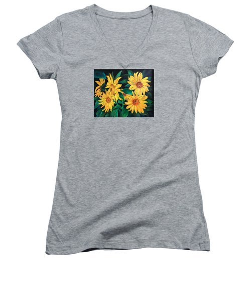 Women's V-Neck T-Shirt (Junior Cut) featuring the painting Sunflowers by Ellen Canfield