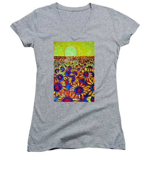 Sunflowers Field At Sunrise Women's V-Neck T-Shirt (Junior Cut) by Ana Maria Edulescu