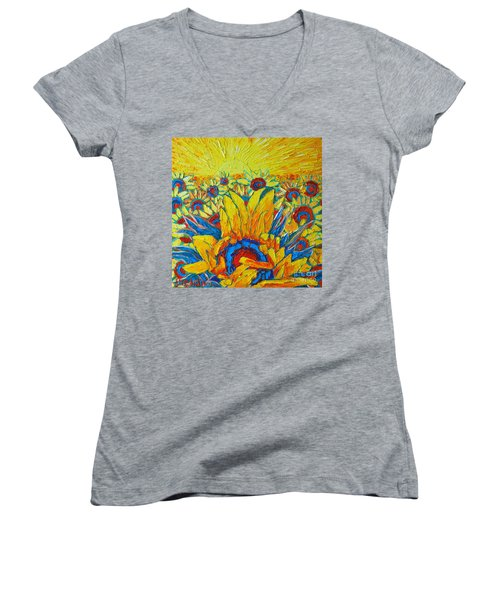 Sunflowers Field In Sunrise Light Women's V-Neck