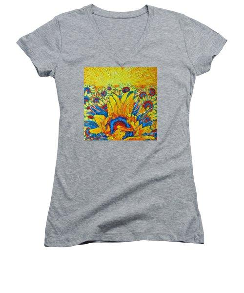 Sunflowers Field In Sunrise Light Women's V-Neck (Athletic Fit)