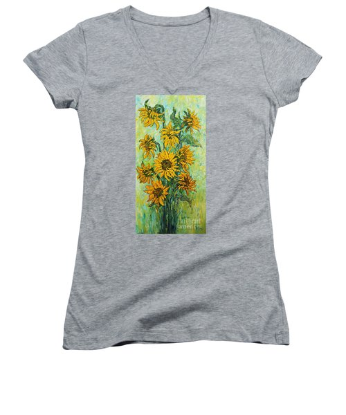 Sunflowers For This Summer Women's V-Neck (Athletic Fit)