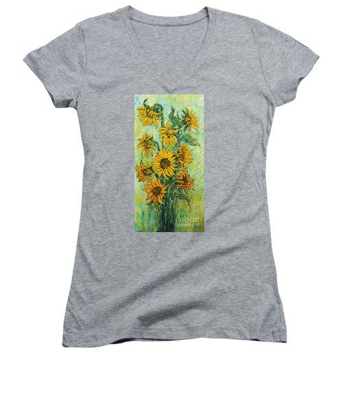 Sunflowers For This Summer Women's V-Neck T-Shirt