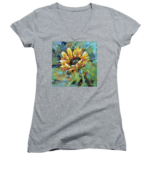 Sunflowers II Women's V-Neck (Athletic Fit)