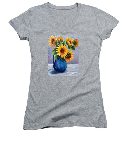 Sunflowers In Bloom Women's V-Neck (Athletic Fit)
