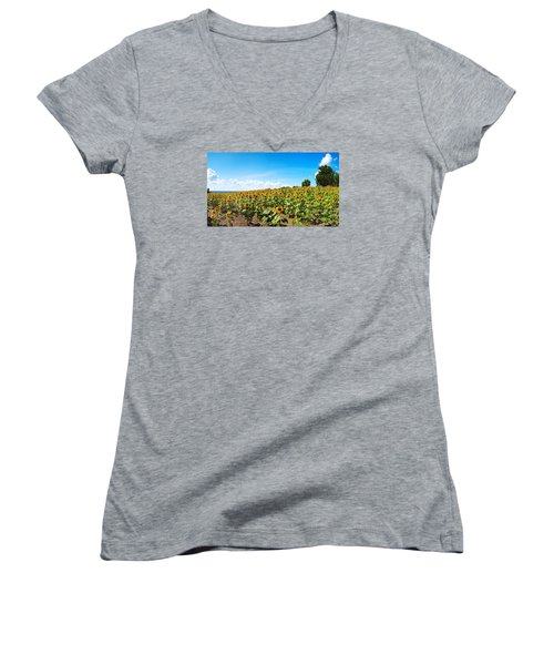 Women's V-Neck T-Shirt (Junior Cut) featuring the photograph Sunflowers In Ithaca New York by Paul Ge