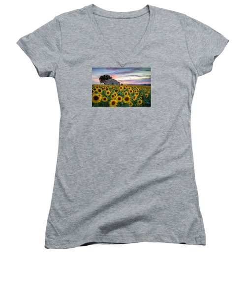 Sunflowers In Provence Women's V-Neck (Athletic Fit)