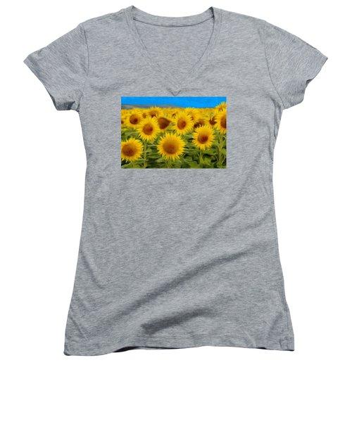 Sunflowers In The Field Women's V-Neck T-Shirt (Junior Cut) by Jeff Kolker