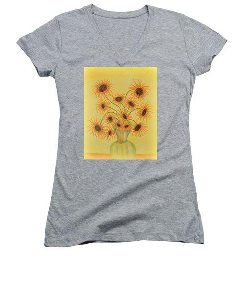 Sunflowers Women's V-Neck T-Shirt (Junior Cut) by Marie Schwarzer