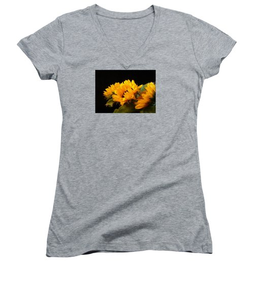 Sunflowers On A Black Background Women's V-Neck
