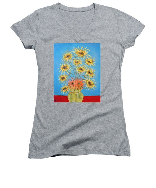 Sunflowers On Blue Women's V-Neck T-Shirt