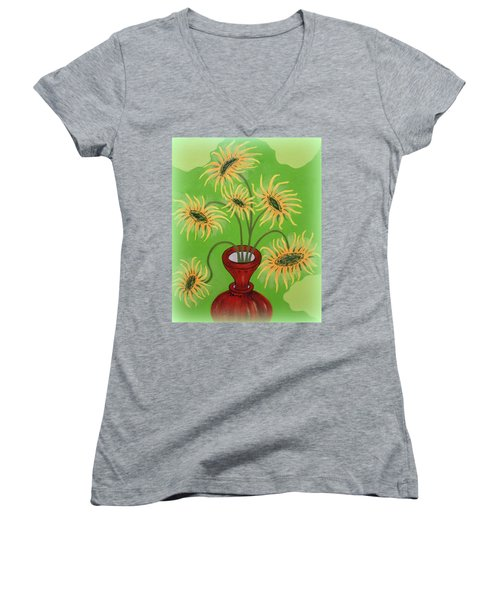 Sunflowers On Green Women's V-Neck (Athletic Fit)