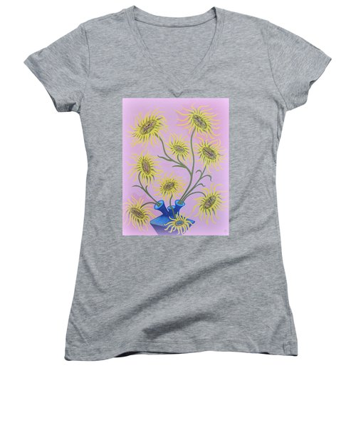 Sunflowers On Pink Women's V-Neck T-Shirt