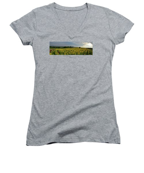 Sunflowers, People, And Pictures 2 Women's V-Neck T-Shirt (Junior Cut) by Janice Adomeit