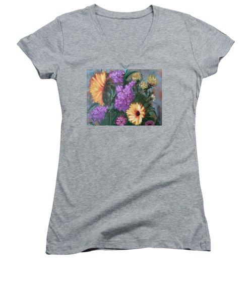 Sunflowers Women's V-Neck T-Shirt (Junior Cut) by Sharon Schultz