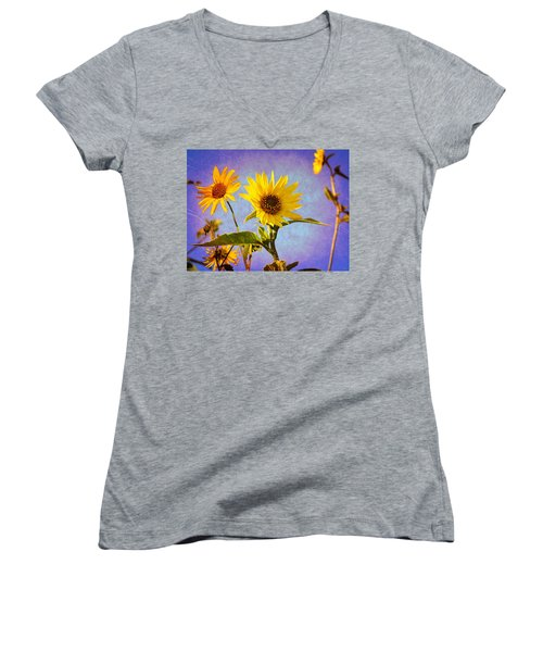Women's V-Neck T-Shirt (Junior Cut) featuring the photograph Sunflowers - The Arrival by Glenn McCarthy Art and Photography